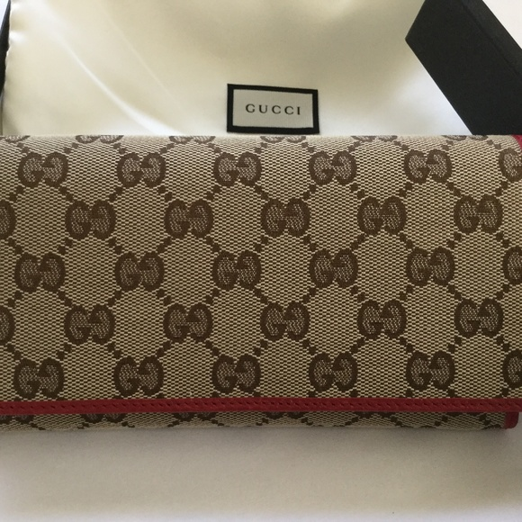 ef168bbf7504 Gucci Bags | Continental Wallet Tan With Red Trim | Poshmark